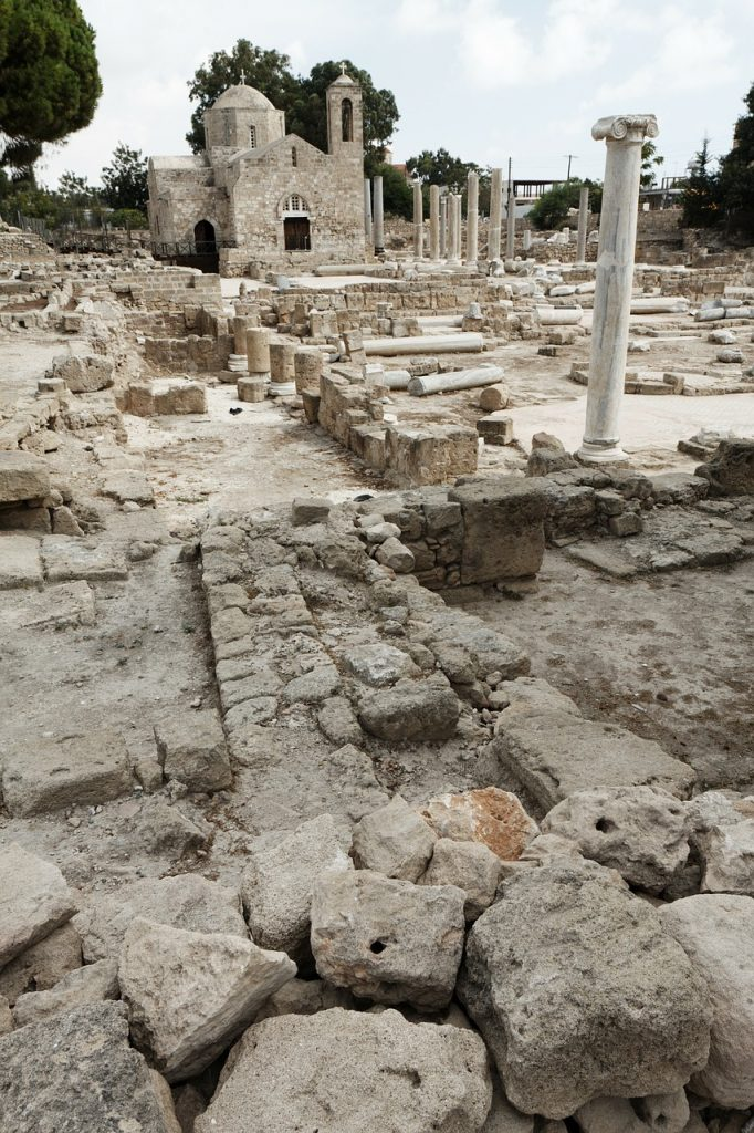 Ancient site with ruins of early church in Greece